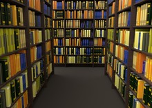 Books In Library 3d Rendering
