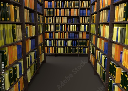 Books in library 3d rendering Canvas Print