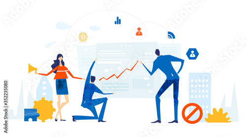 Obraz Business people working together in office, analysing data,  negotiating, solving the problems, supporting a project and making progress in business. Business concept illustration. - fototapety do salonu