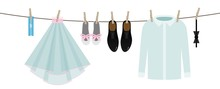 Cartoon Colorful Hanging Wedding Clothes On Line, Vector Decorative Garland Isolated On White Background, Clipart Or Illustration For Marriage Themes, Perfect For Announcement Or Invitation