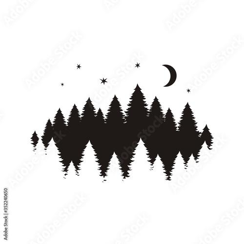 Leinwand Poster Coniferous trees silhouette