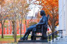 The Statue Of John Harvard On ...