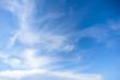 Leinwandbild Motiv Blue sky with cirrus clouds at daytime. Natural background