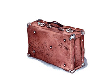 Hand-drawn Watercolor Illustration. A Vintage Closed Old Brown Leather Suitcase Stands On The Floor. Isolated
