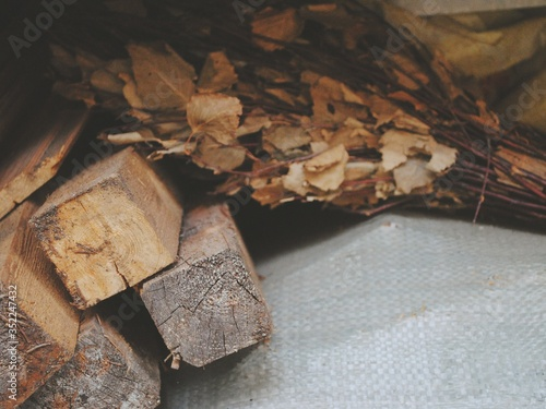 Firewood Lying On Sack Fototapete