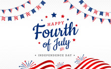 Happy 4th Of July, USA Independence Day With Waving American National, Garlands On Top Fireworks On The White Background, Use For Sale Banner, Discount Banner, Advertisement Banner, Etc.