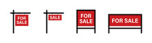 Sale Real Estate Signs. For Sale Vector Red Sign. Vector Isolated Collection Signs.