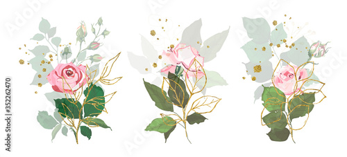 Valokuvatapetti Gold leaves green tropical branch plants with pink rose flowers wedding bouquet with golden splatters
