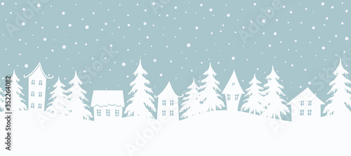 Christmas background. Fairy tale winter landscape. Seamless border. There are white houses and fir trees on a gray blue background. Winter village. Vector illustration