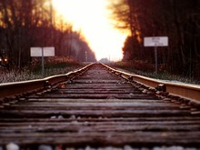 Surface Level Of Railway Tracks Against The Sky