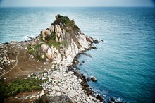 Elevated View Of Rocky Coastline