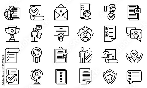 Attestation service icons set Canvas Print