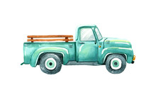 Vintage Watercolor Turquoise Truck, Hand Draw Llustration Of Old Retro Car On A White Background