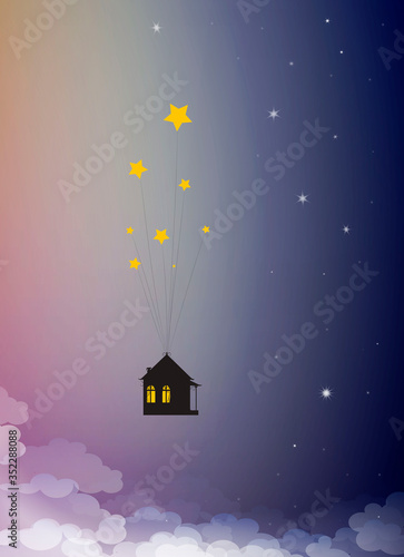 Obraz sweet home dreams concept, house hanging on the star in the sky, time dreaming, - fototapety do salonu