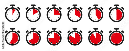 Obraz Timer, clock, stopwatch isolated set icons with different time. Sport clock with red colored time meaning. Label cooking symbols - stock vector - fototapety do salonu