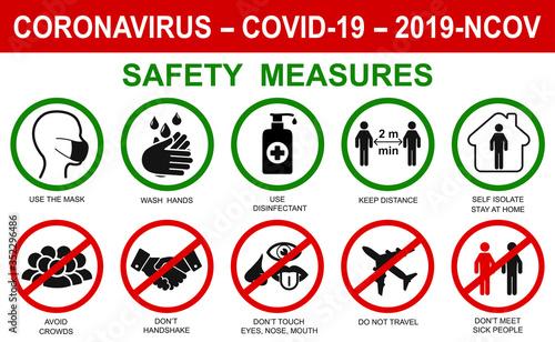 Cuadros en Lienzo Сorona virus set infographic illustration icons