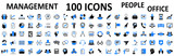 Set of 100 management web icons: manager, teamwork, strategy, marketing, business, planning - stock vector