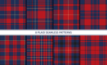 Set Of Red Plaid Seamless Patt...