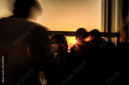 Silhouette People At Burj Khalifa During Sunset Fotobehang