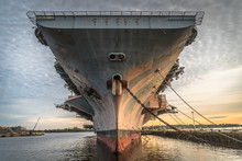 Close-up From The Front Of Aircraft Carrier USS John F. Kennedy In The NAVSEA Inactive Ships Maintenance Facility At The Philadelphia Navy Yard.