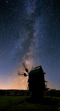 Closeup Medieval Windmill Silhouette On A Night Sky Background, Old Stylized Countryside Scene