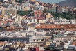 close up shots of various colourful houses roofs of Barcelona in a beautiful sunny day from high point of view
