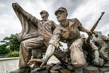 Seoul, South Korea - July 10 2018: Monument Of The Korean War Veterans Outside Of The War Memorial Of Korea (전쟁기념관).