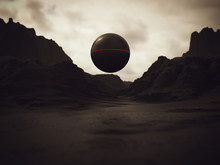 Alien Sphere Black Geometric A...