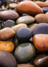 Colored Wet Rocks On Coastal Beach