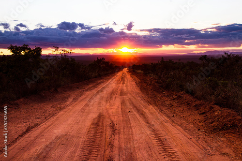 Fototapety, obrazy: Dirt Road Amidst Trees Against Sky During Sunset