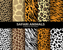 Animal Fur Seamless Patterns Set, Leopard, Tiger And Zebra Vector Backgrounds. African Animals Fur And Skin Hair Texture, Simple Brown Jaguar Stripes, Black Panther And Beige Giraffe Spots Pattern