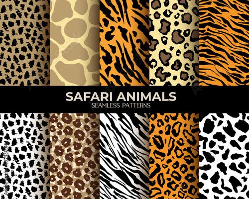 Fototapeta Animal fur seamless patterns set, leopard, tiger and zebra vector backgrounds