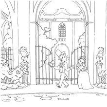 Outline Victorian Cartoon Lady In Vintage Dress And Gentleman In Retro Style Suit And Cylinder Hat With Poem Book Near Rich Medieval Mansion With Gate Entrance. Vector Hand Drawn Coloring Book Page.