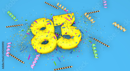 Fotografia Number 83 for birthday, anniversary or promotion, in thick yellow letters on a blue background decorated with candies, streamers, chocolate straws and confetti