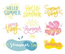 Set Of Summer Handwritten Lett...