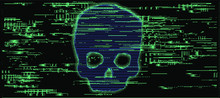 Computer Code On A Screen With A Skull Representing A Computer Virus, Hack Attack, Malware And Ransomware.