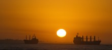 Silhouette Of Ships On Sea