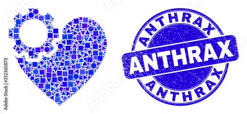 Photo Geometric heart gear mosaic icon and Anthrax stamp