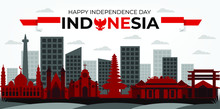 Independence Day Indonesia  Banner With Red And White Color Background Vector
