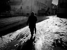 Silhouette Man With Umbrella W...