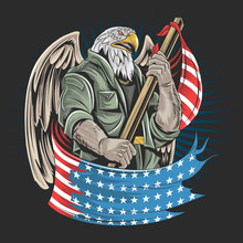 Eagle America USA Army Soldier Artwork Vector For Veterans Day, Independence Day Or Memorial Day