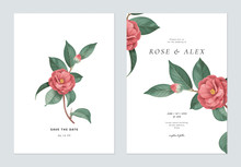 Floral Wedding Invitation Card Template Design, Red Semi-double Camellia Flowers With Leaves On White