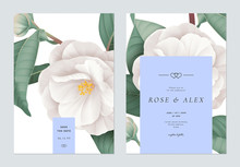 Floral Wedding Invitation Card Template Design, White Semi-double Camellia Flowers With Leaves On White