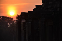 Morning Landscape With Beautiful Sunrise Over The Forest And Ancient Ruins Illuminated By The First Rays Of The Sun In Cambodia