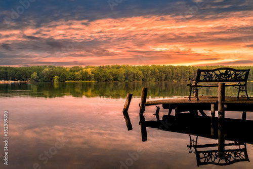 Obraz Scenic View Of Lake Against Cloudy Sky - fototapety do salonu