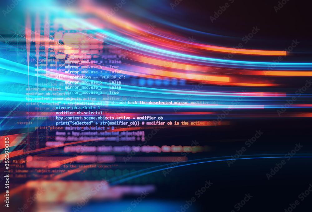 Fototapeta Programming code abstract technology background of software developer and  Computer script .3d illustration