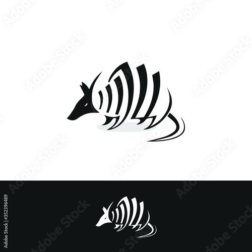 Photo vector illustration of an armadillo. Editable armadillo design.
