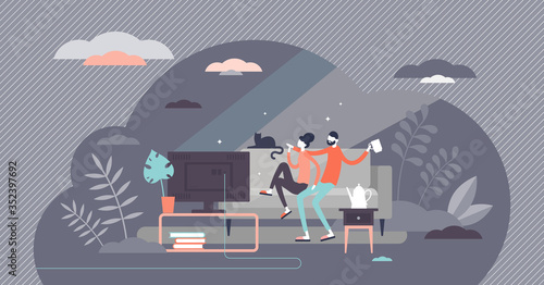 Fototapeta Watching movies vector illustration. Home tv and chill tiny persons concept obraz