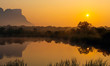 canvas print picture Panorama of Hanging Lip or Hanglip mountain at sunrise in the mist by a swamp lake, Entabeni Safari Game Reserve, Limpopo Province, South Africa.