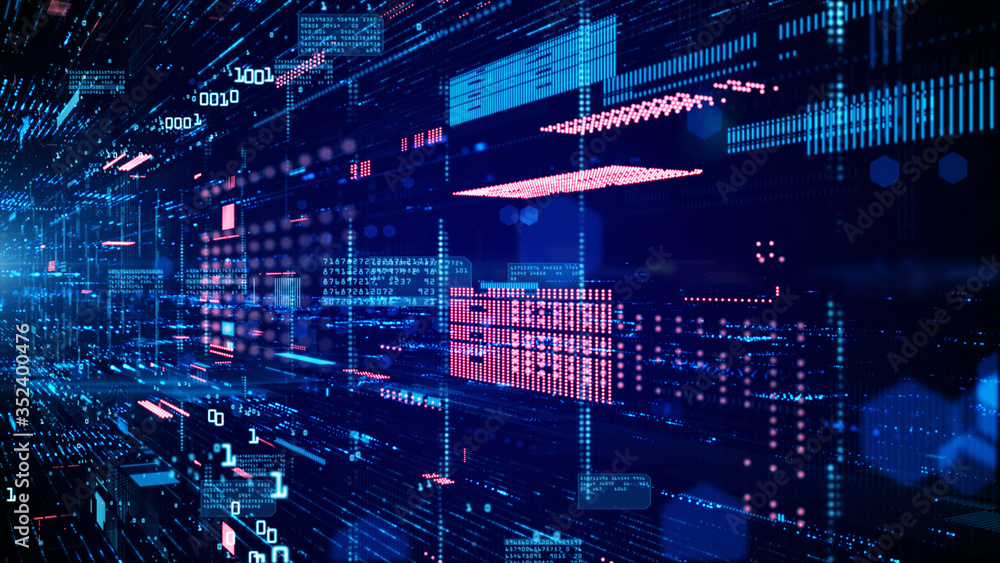 Fototapeta Digital cyberspace and data network connections. Transfer digital data high-speed internet. Technology digital data in the future background concept.